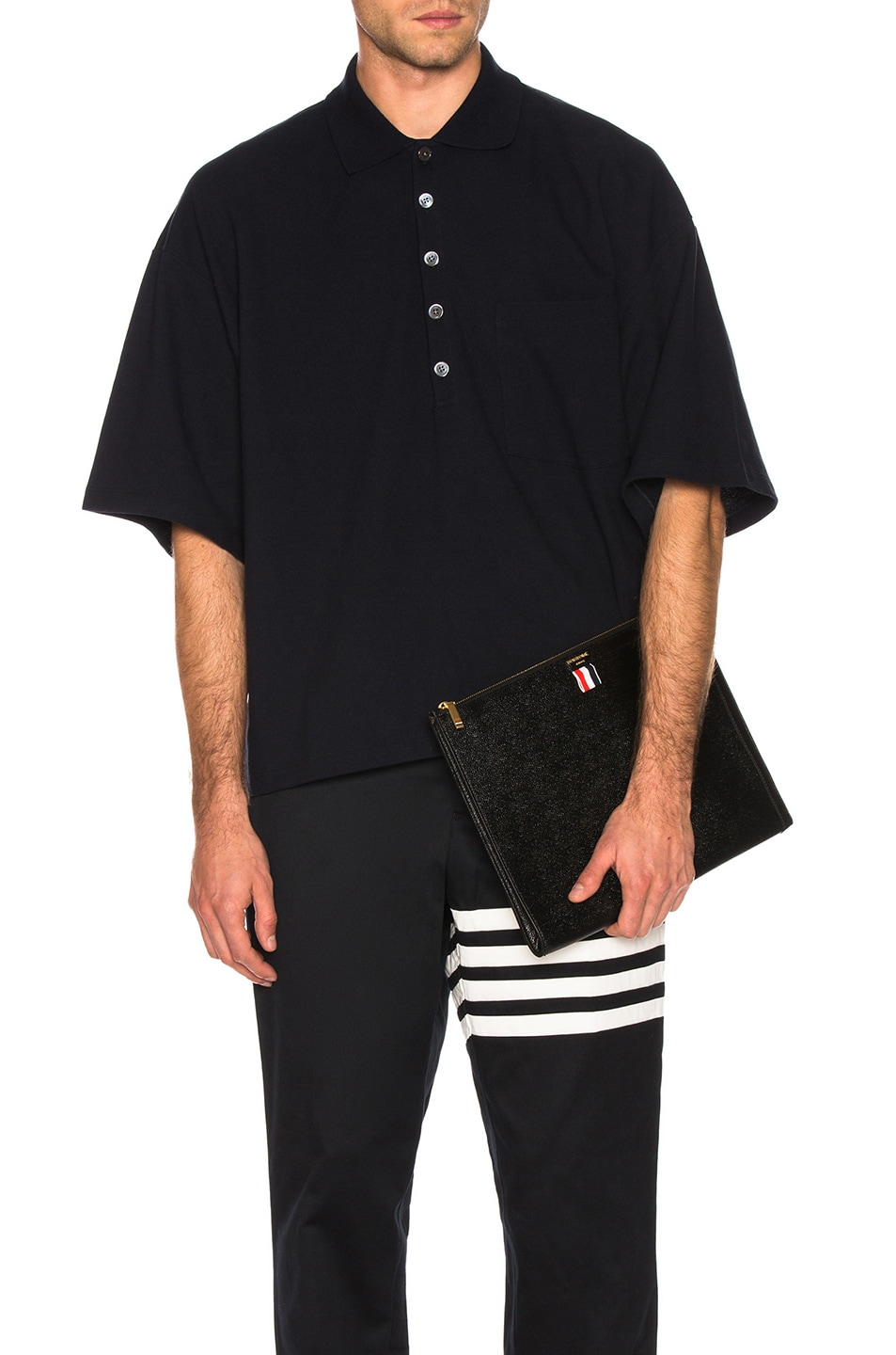 6c684d4f621 Image 1 of Thom Browne Oversized Pocket Polo in Navy