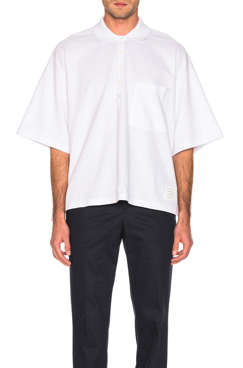 Image 1 of Thom Browne Oversized Pocket Polo in White