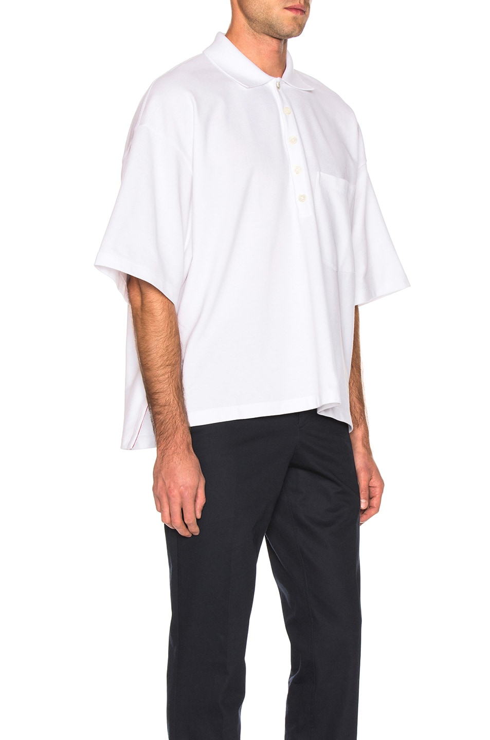 Image 2 of Thom Browne Oversized Pocket Polo in White