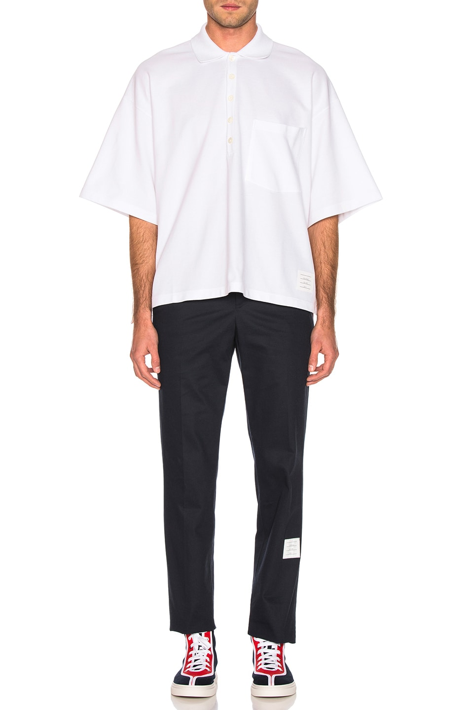 Image 4 of Thom Browne Oversized Pocket Polo in White