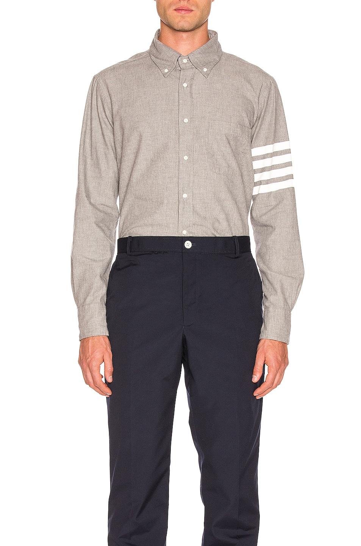 Image 1 of Thom Browne 4 Bar Chambray Shirt in Medium Grey