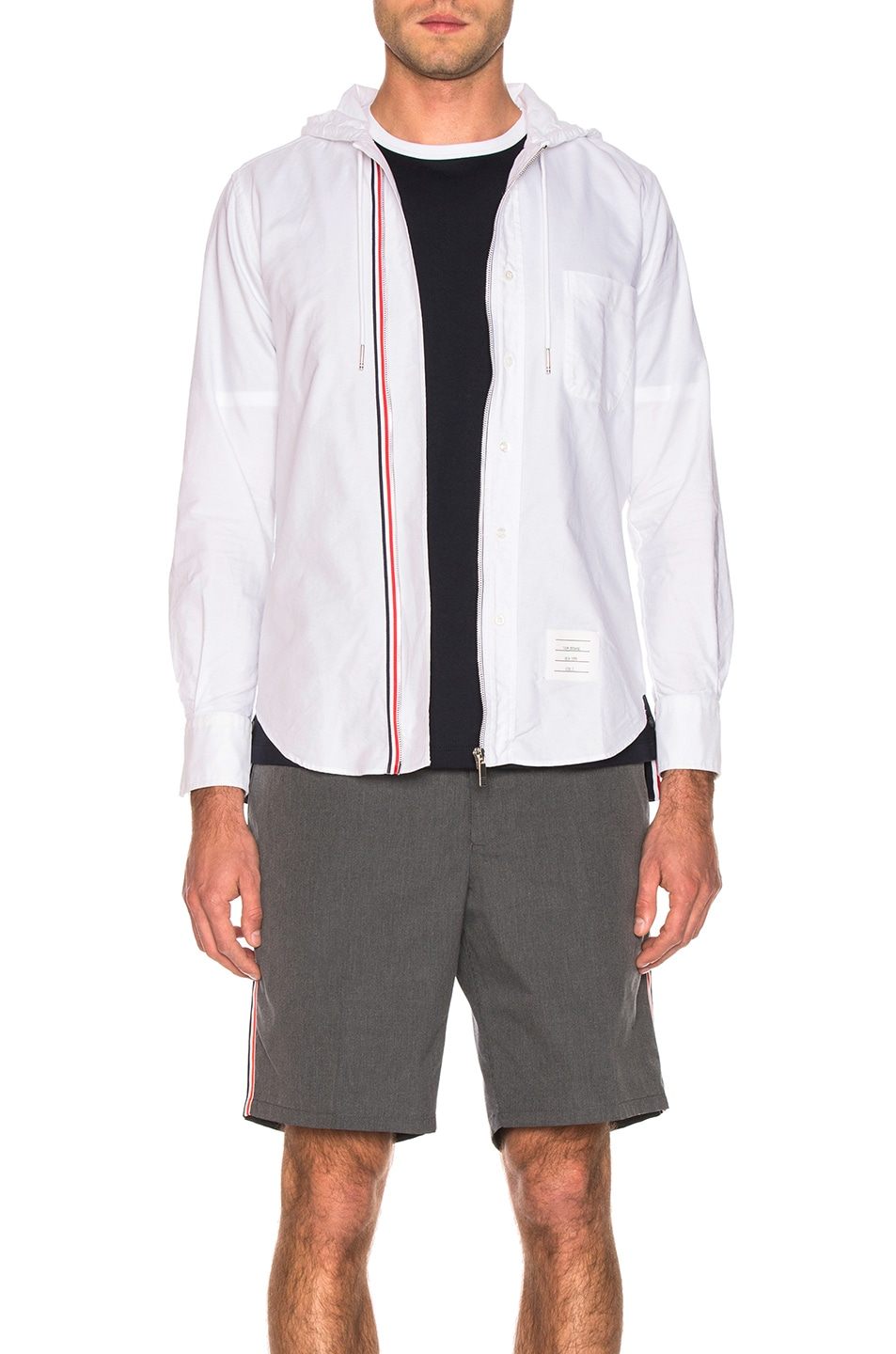 Image 1 of Thom Browne Hooded Front Zip Shirt in White