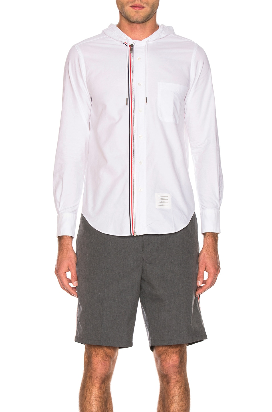 Image 2 of Thom Browne Hooded Front Zip Shirt in White