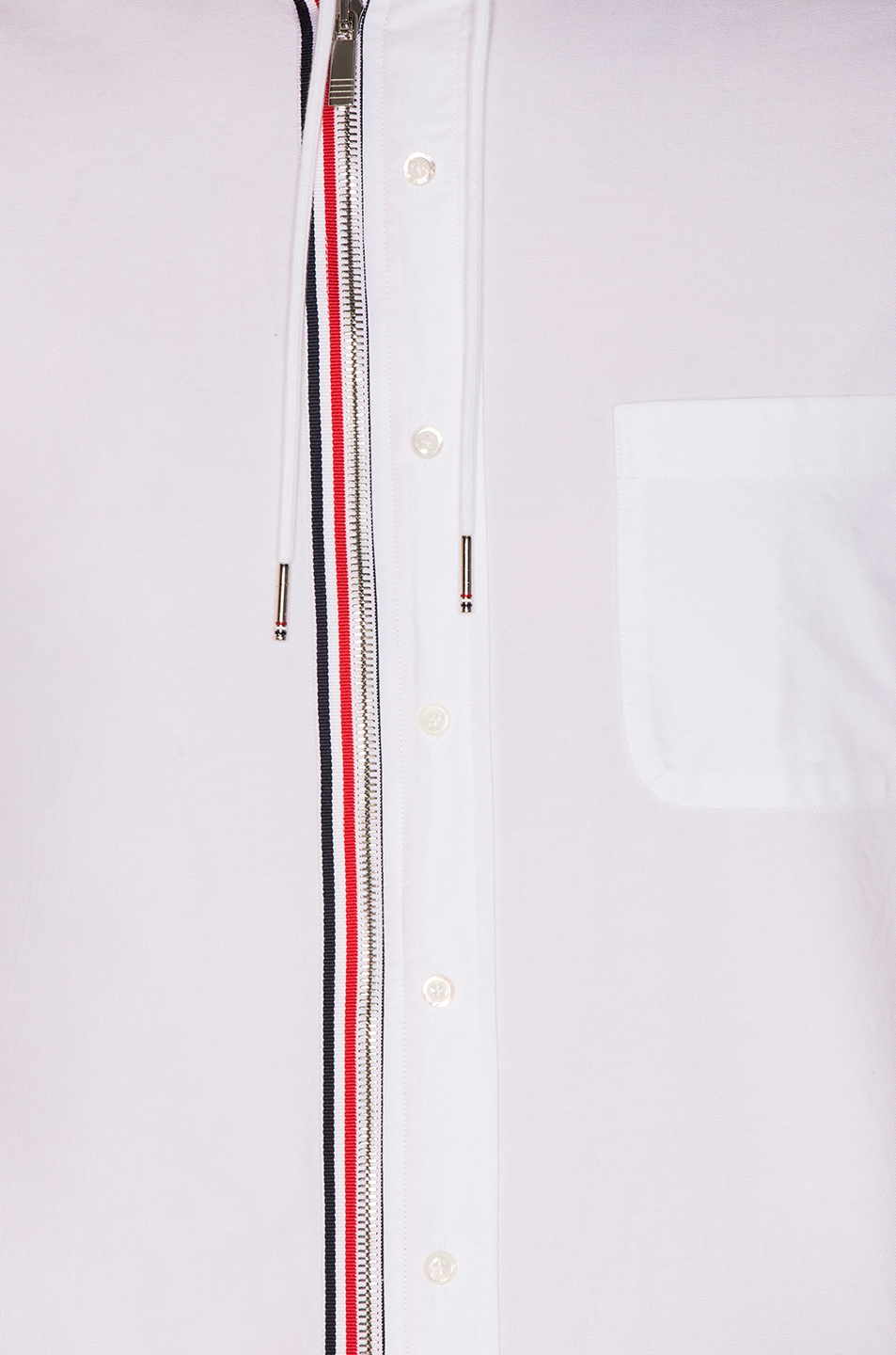 Image 7 of Thom Browne Hooded Front Zip Shirt in White