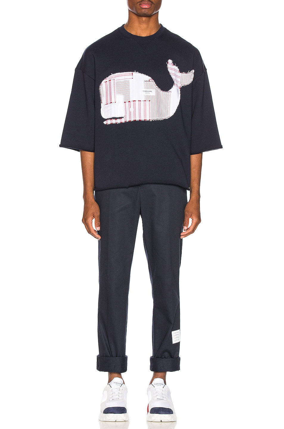 Image 5 of Thom Browne Boxy Cut Off Patchwork Icon Tee in Navy