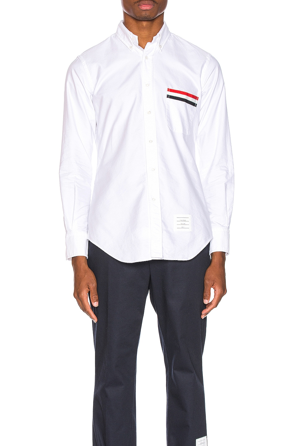 Image 1 of Thom Browne Pocket Collar Button Down Shirt in White