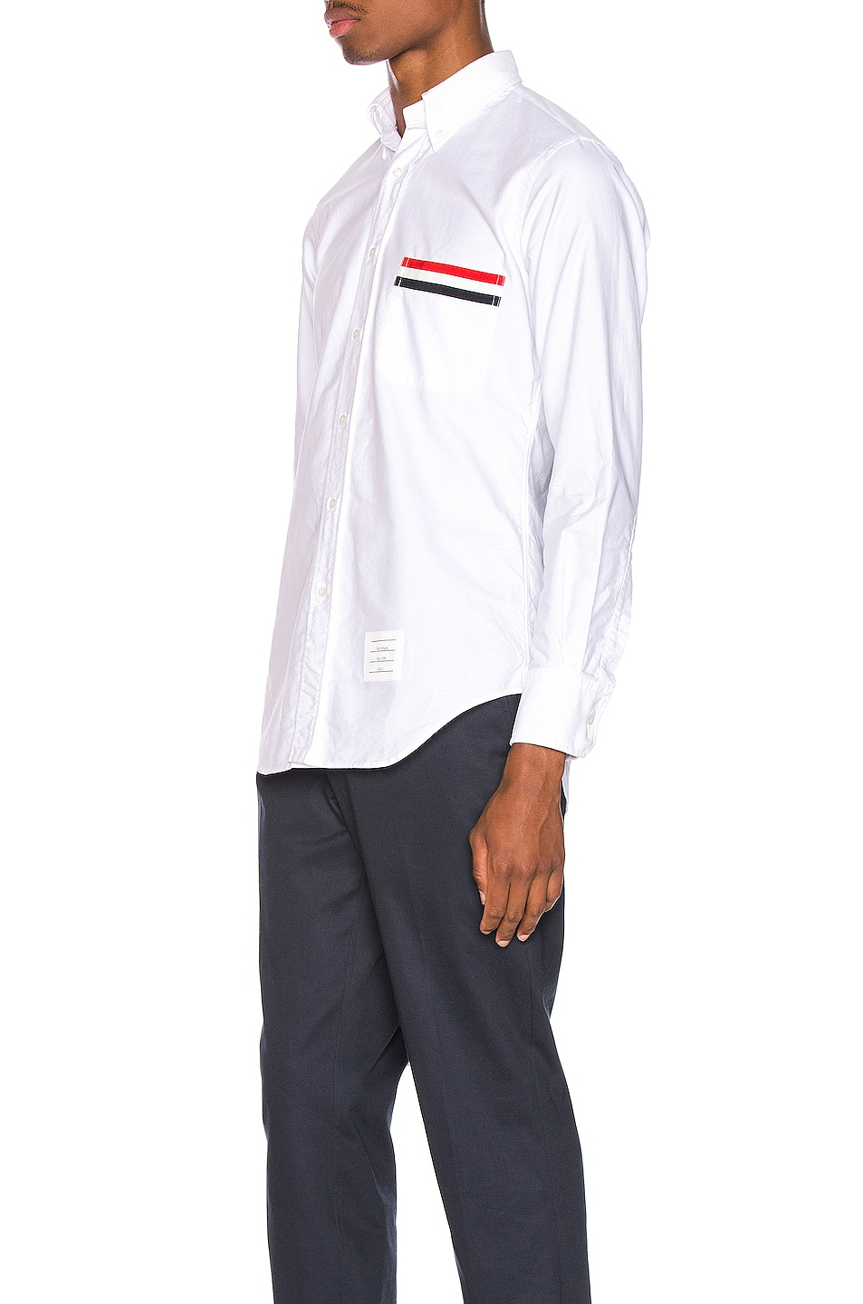 Image 3 of Thom Browne Pocket Collar Button Down Shirt in White
