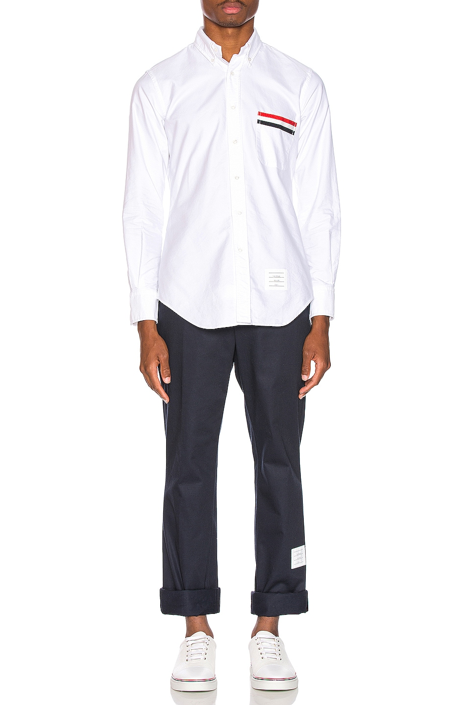 Image 5 of Thom Browne Pocket Collar Button Down Shirt in White
