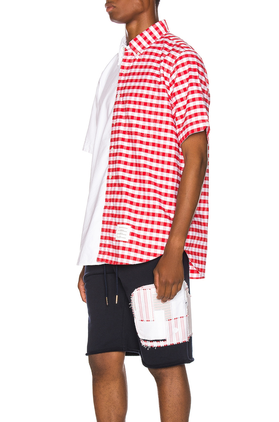 Image 3 of Thom Browne Bicolor Checkered Button Down Shirt in Red