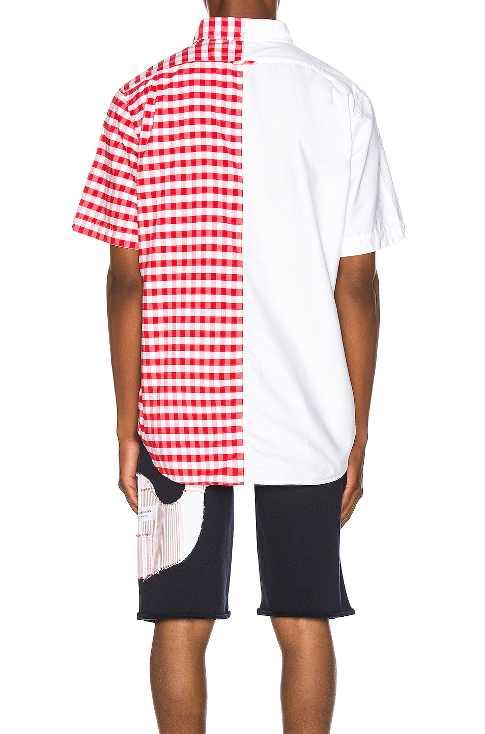 Image 4 of Thom Browne Bicolor Checkered Button Down Shirt in Red