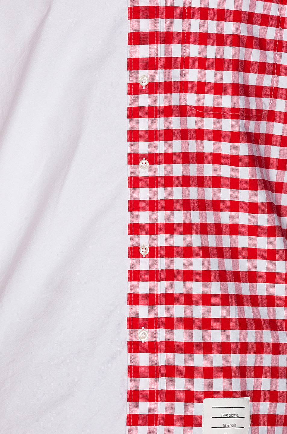 Image 6 of Thom Browne Bicolor Checkered Button Down Shirt in Red
