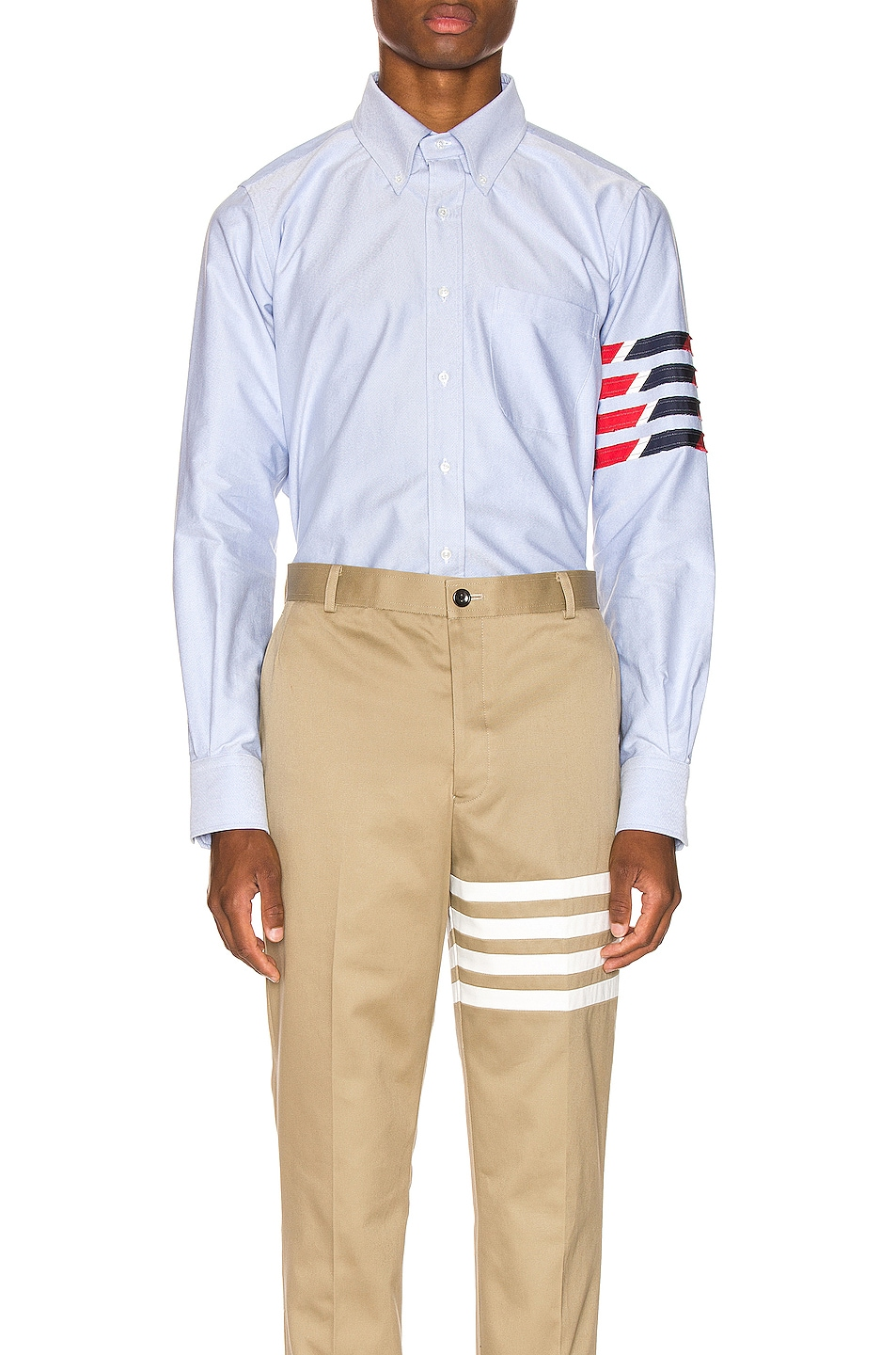 Image 1 of Thom Browne Straight Fit 4 Stripe Shirt in Light Blue