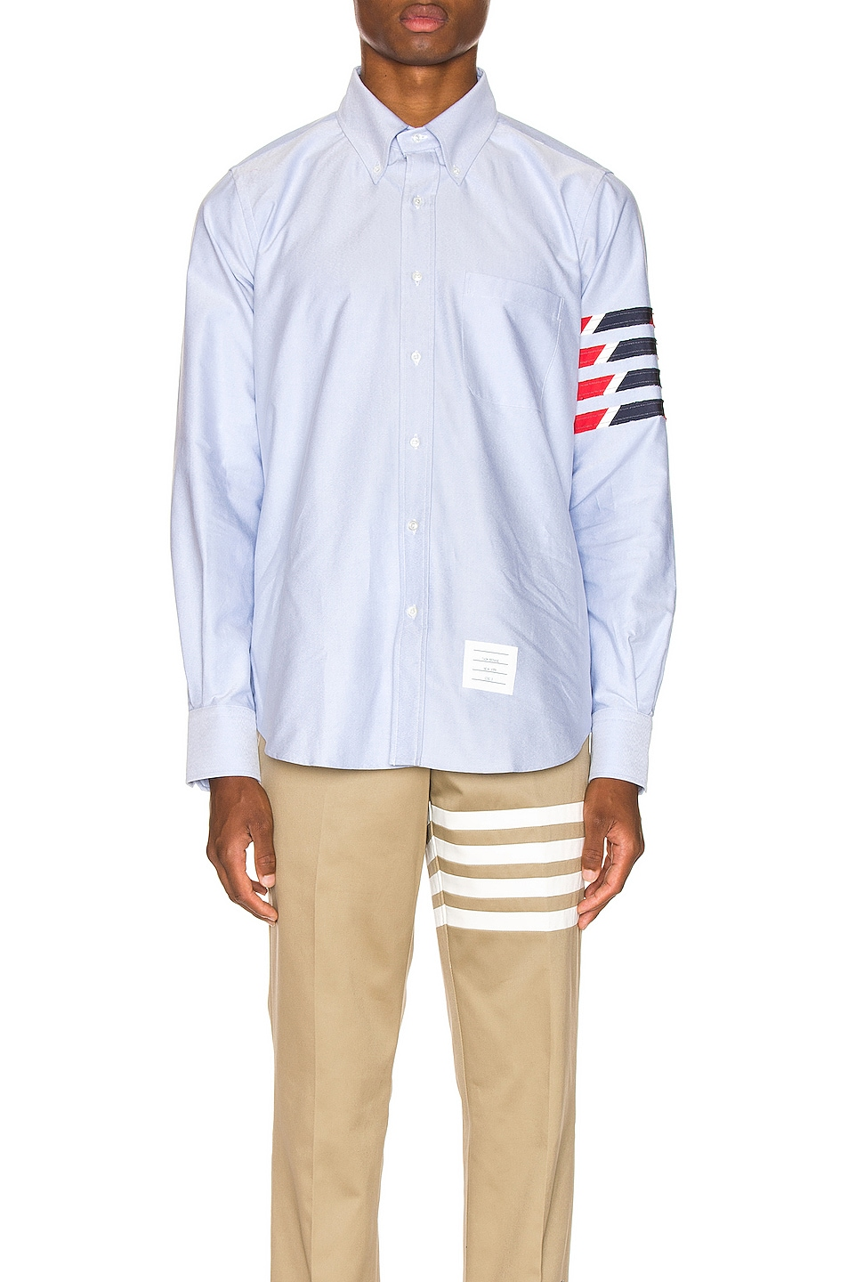 Image 2 of Thom Browne Straight Fit 4 Stripe Shirt in Light Blue