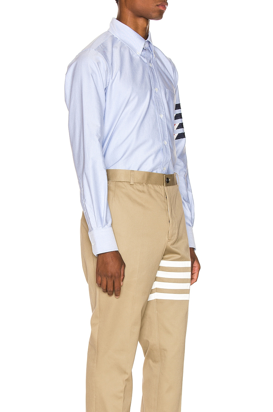 Image 3 of Thom Browne Straight Fit 4 Stripe Shirt in Light Blue