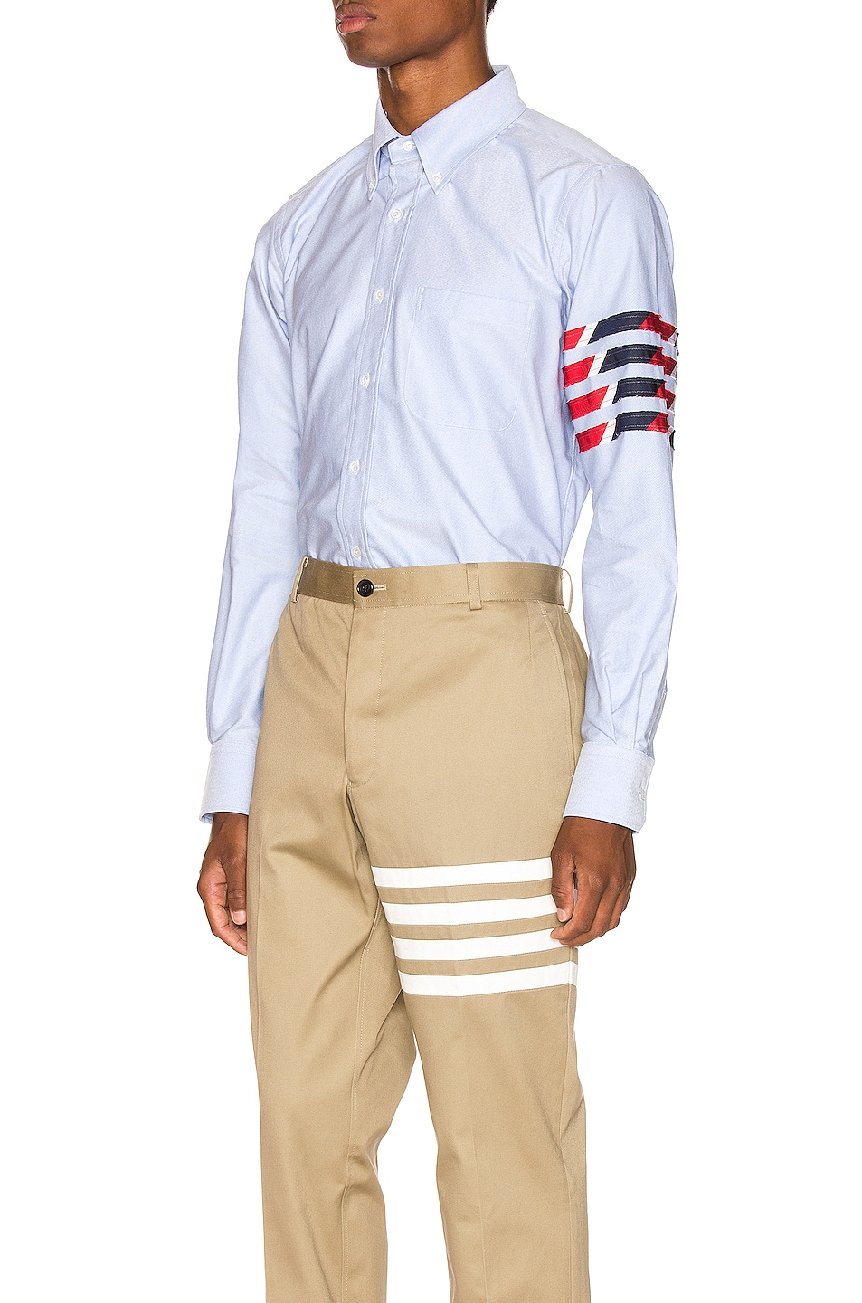 Image 4 of Thom Browne Straight Fit 4 Stripe Shirt in Light Blue