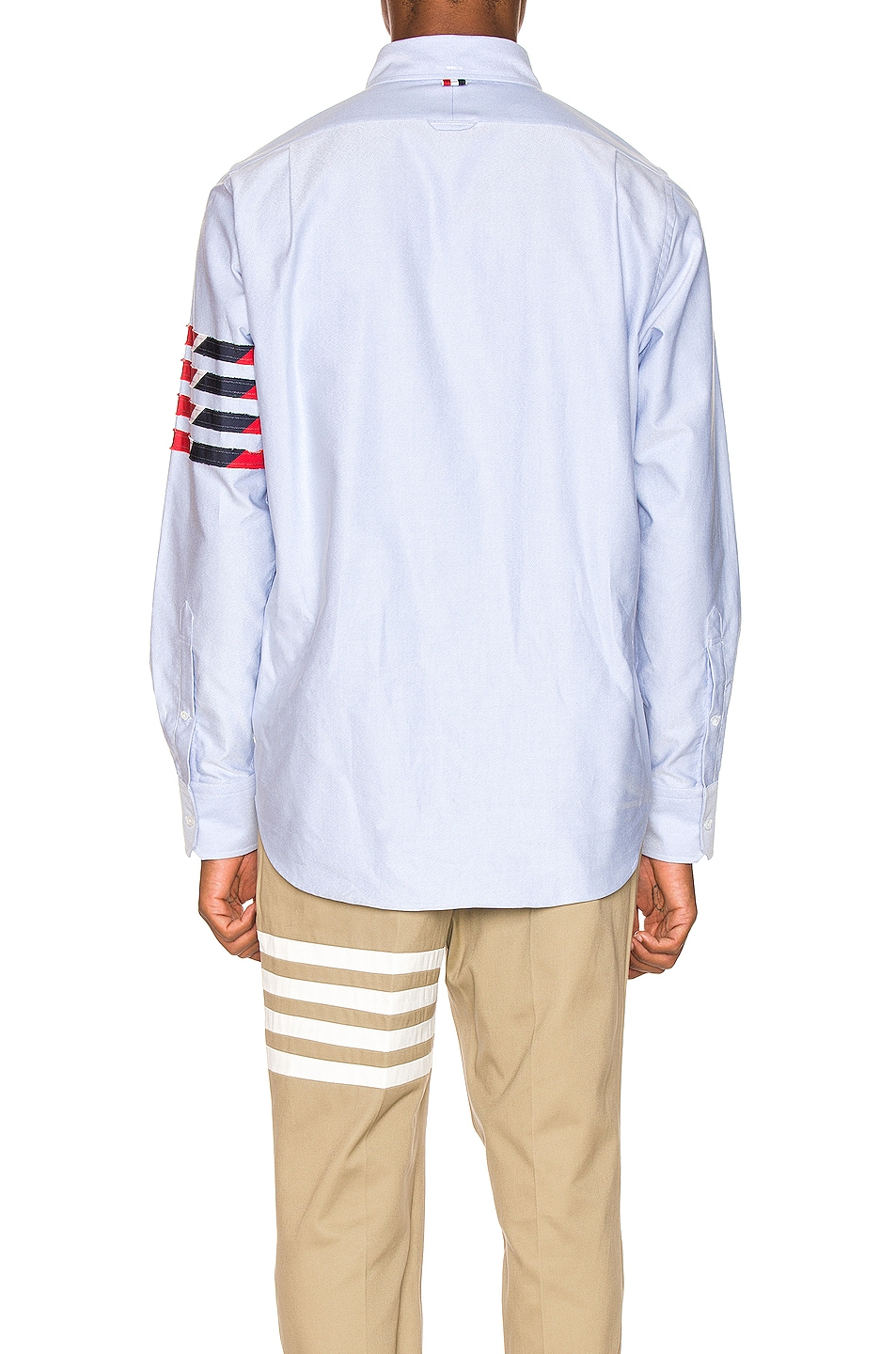 Image 5 of Thom Browne Straight Fit 4 Stripe Shirt in Light Blue