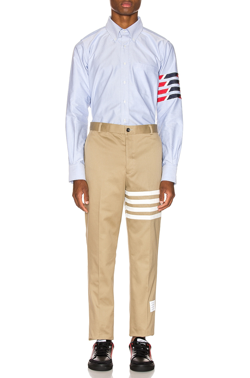 Image 6 of Thom Browne Straight Fit 4 Stripe Shirt in Light Blue