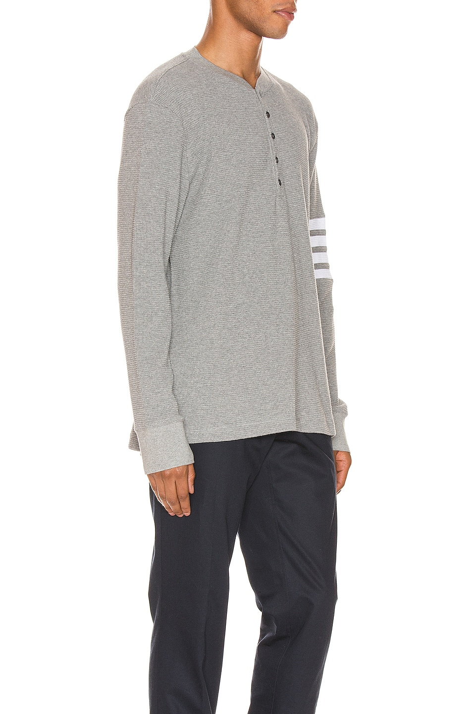 Image 2 of Thom Browne 4 Bar Long Sleeve Henley in Medium Grey