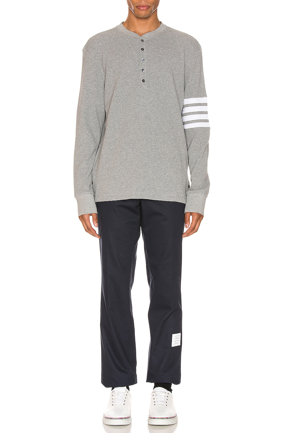 Image 5 of Thom Browne 4 Bar Long Sleeve Henley in Medium Grey