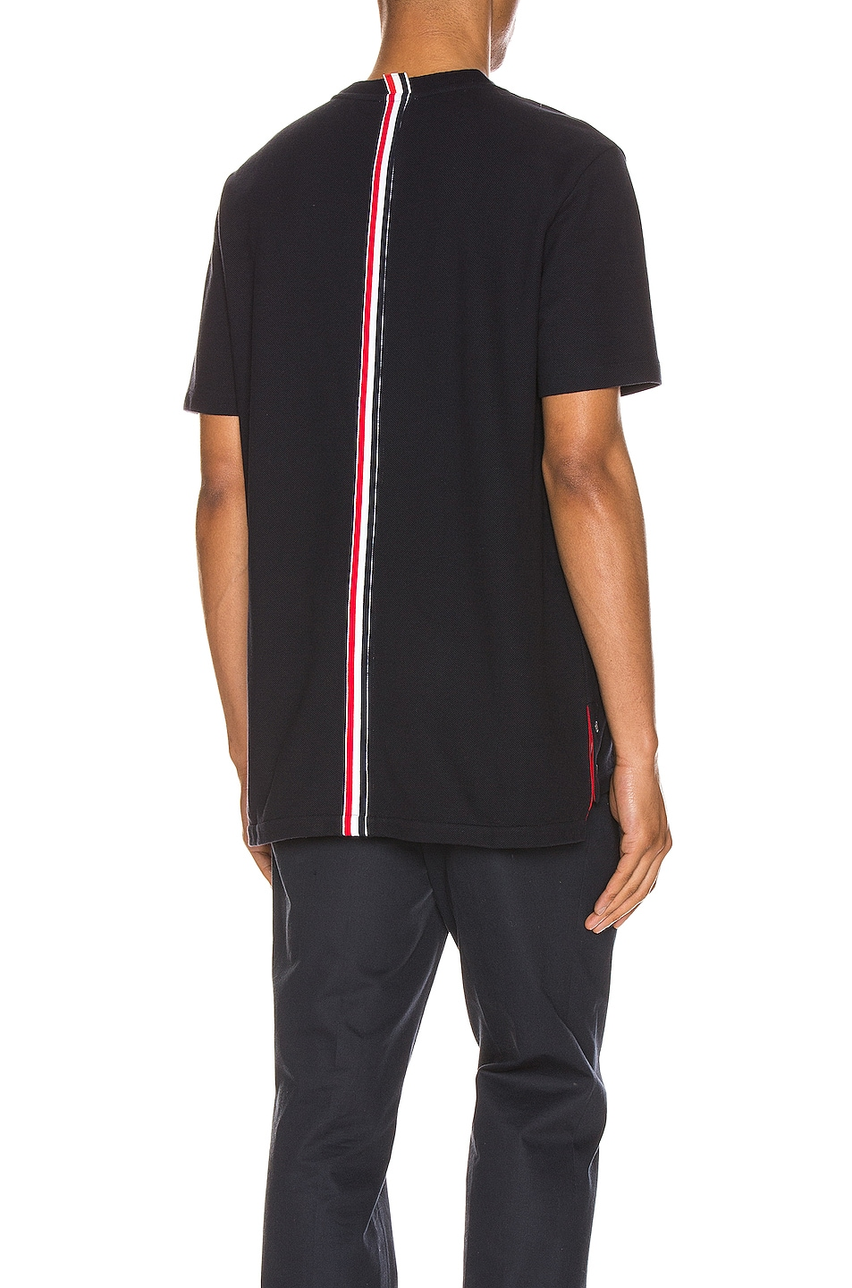 Image 1 of Thom Browne Relaxed Stripe Tee in Navy
