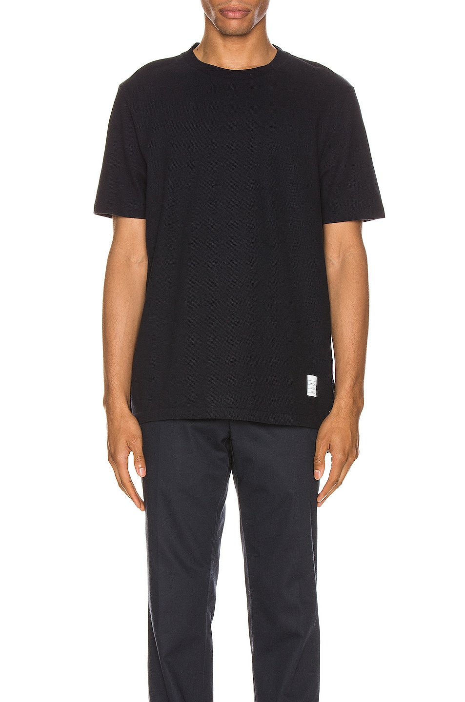 Image 2 of Thom Browne Relaxed Stripe Tee in Navy