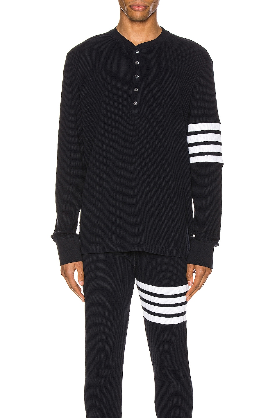 Image 1 of Thom Browne 4 Bar Long Sleeve Henley in Navy