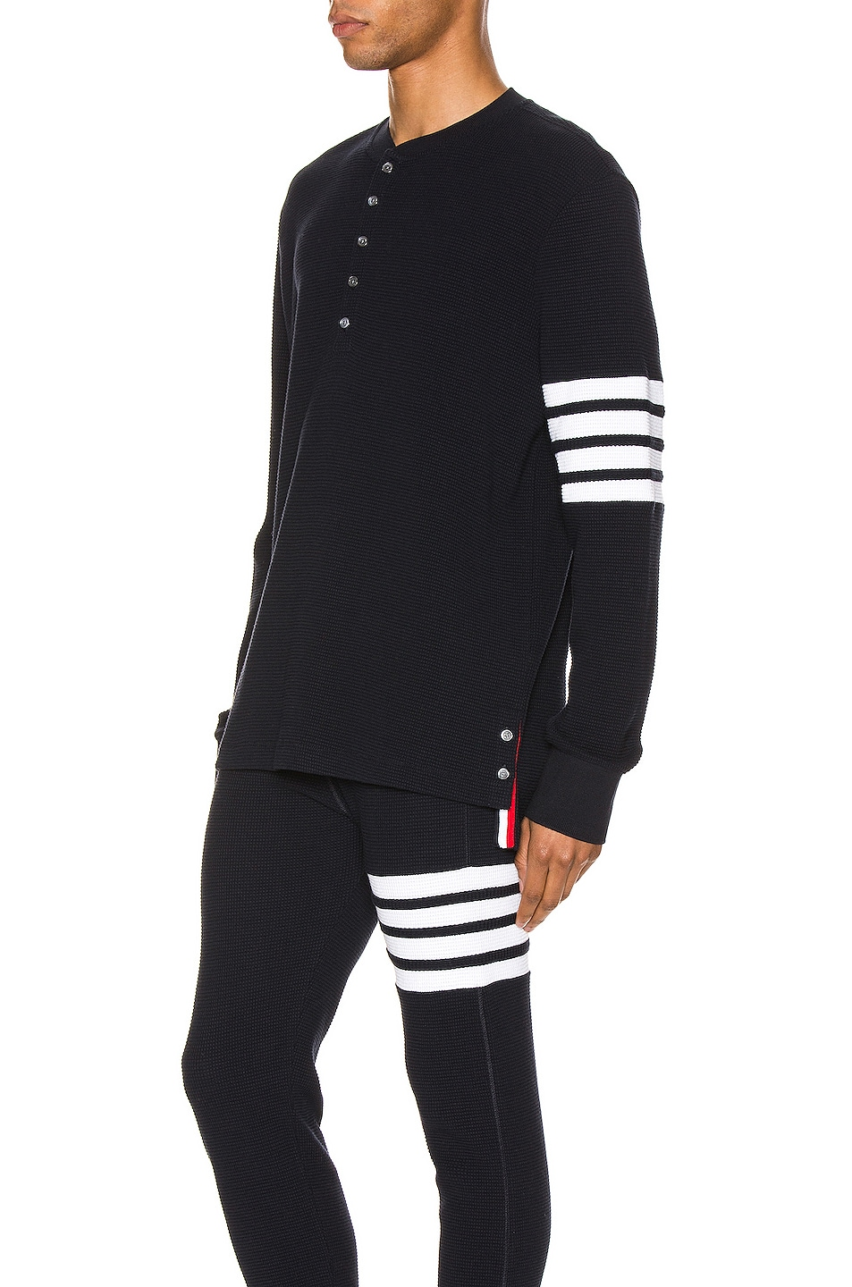 Image 3 of Thom Browne 4 Bar Long Sleeve Henley in Navy