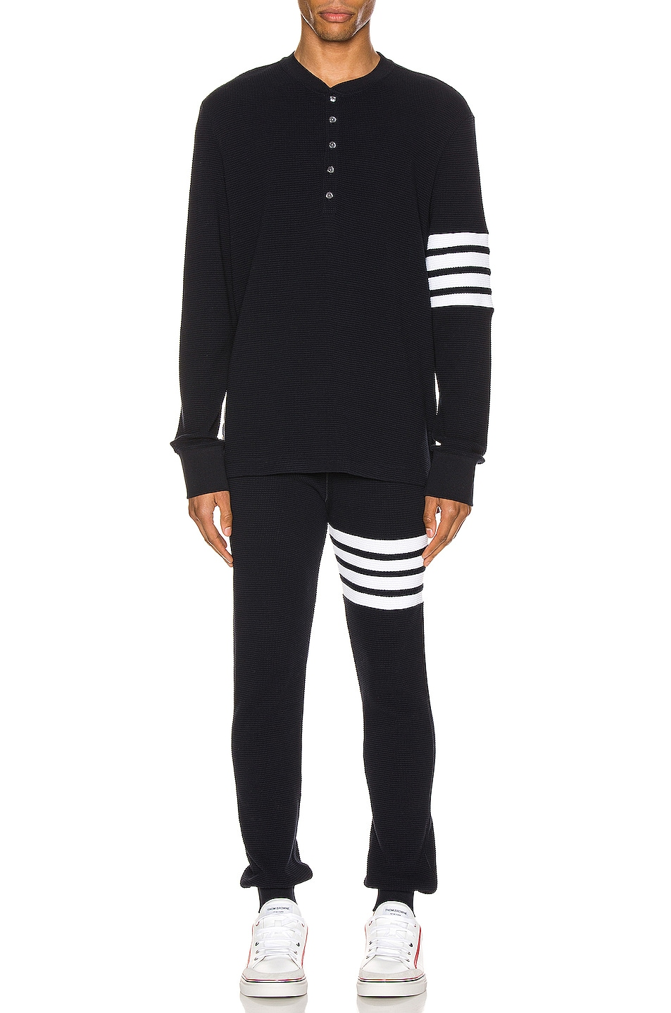 Image 5 of Thom Browne 4 Bar Long Sleeve Henley in Navy