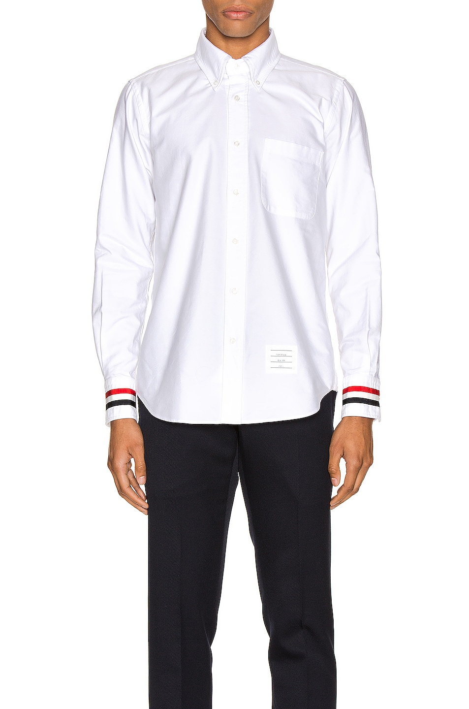 Image 1 of Thom Browne Classic Point Collar Button Up Shirt in White