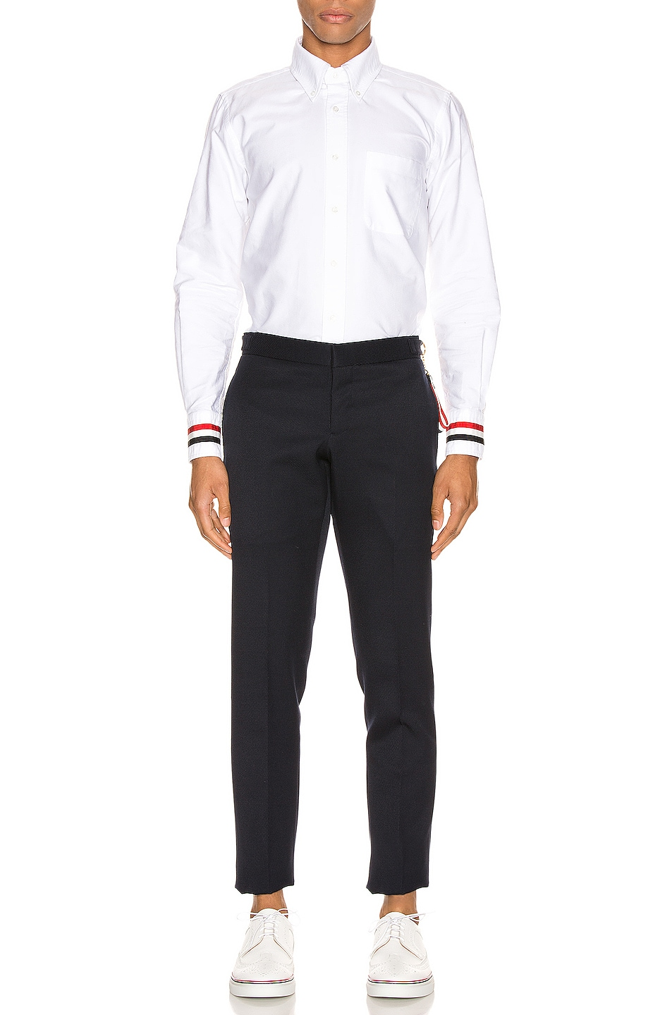 Image 4 of Thom Browne Classic Point Collar Button Up Shirt in White