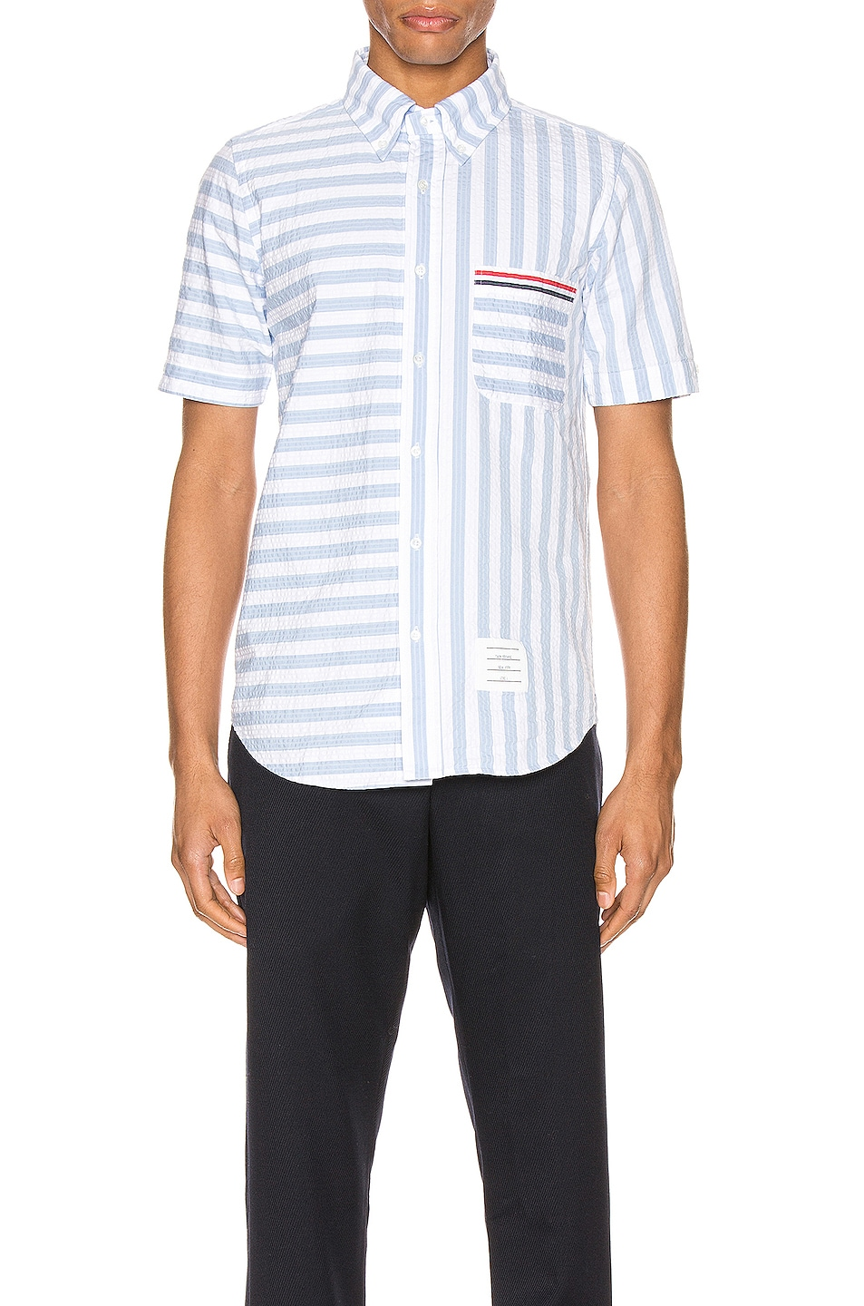 Image 1 of Thom Browne University Stripe Short Sleeve Shirt in Light Blue