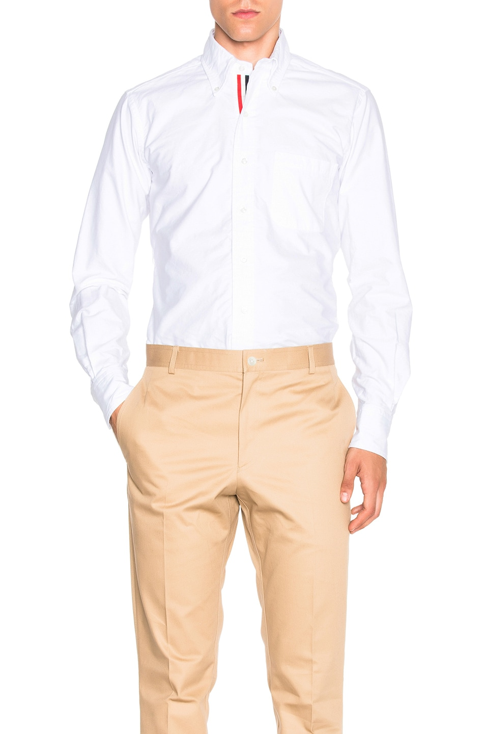 Image 1 of Thom Browne Classic Button Down with Ribbon Placket in White