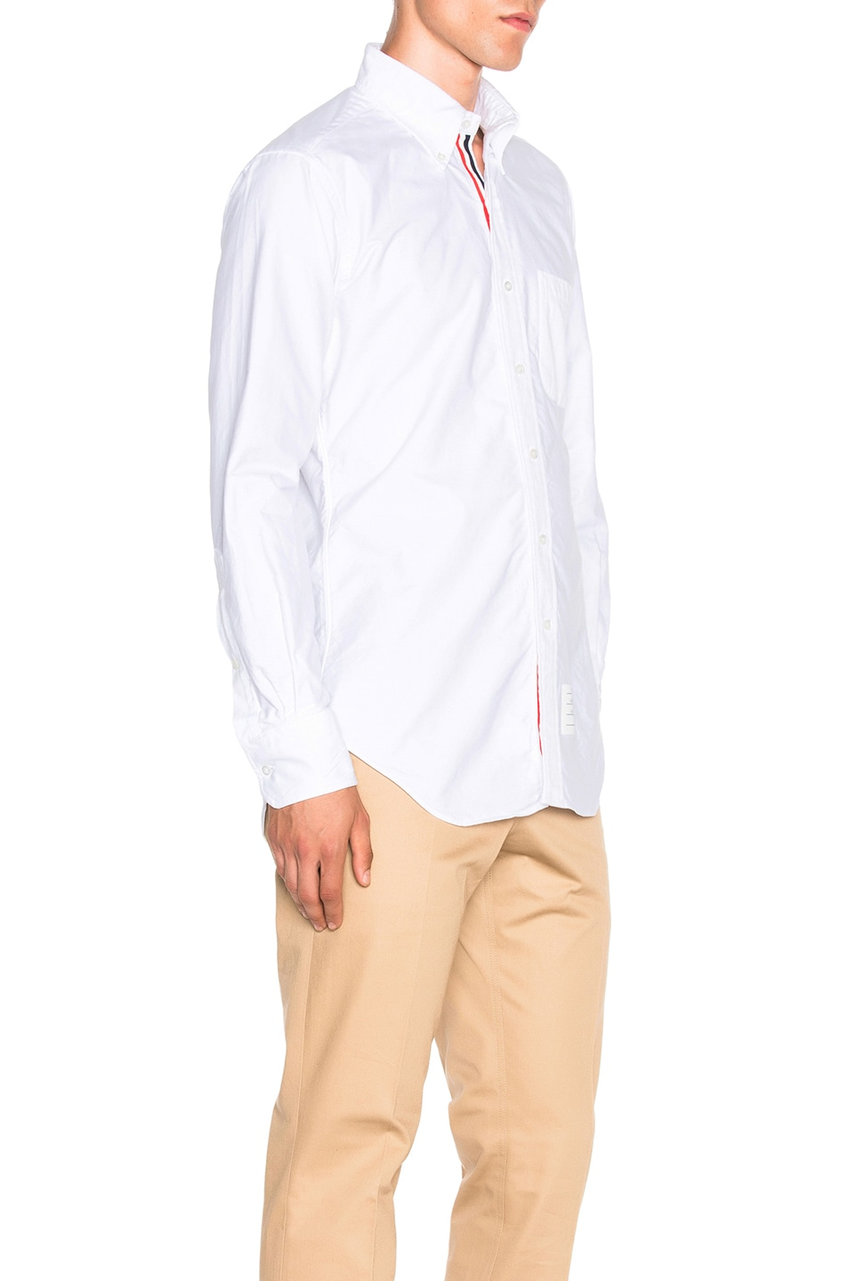 Image 3 of Thom Browne Classic Button Down with Ribbon Placket in White