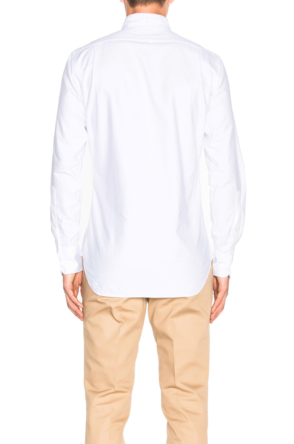 Image 4 of Thom Browne Classic Button Down with Ribbon Placket in White