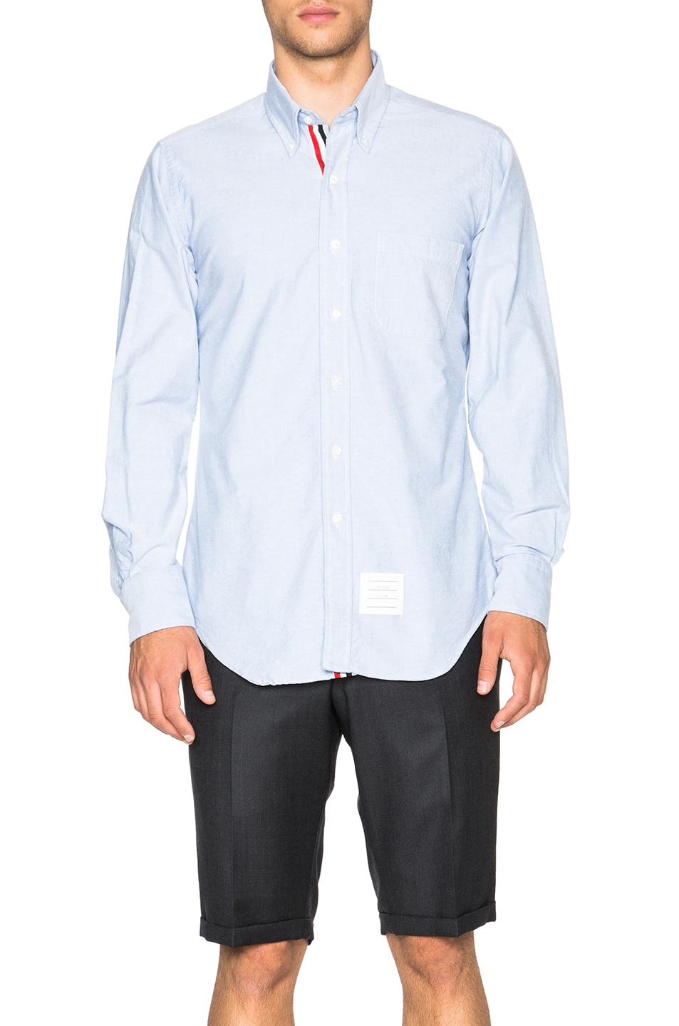 Image 1 of Thom Browne Classic Cotton Button Down with Ribbon Placket in Light Blue