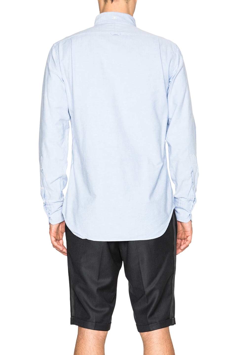 Image 4 of Thom Browne Classic Cotton Button Down with Ribbon Placket in Light Blue