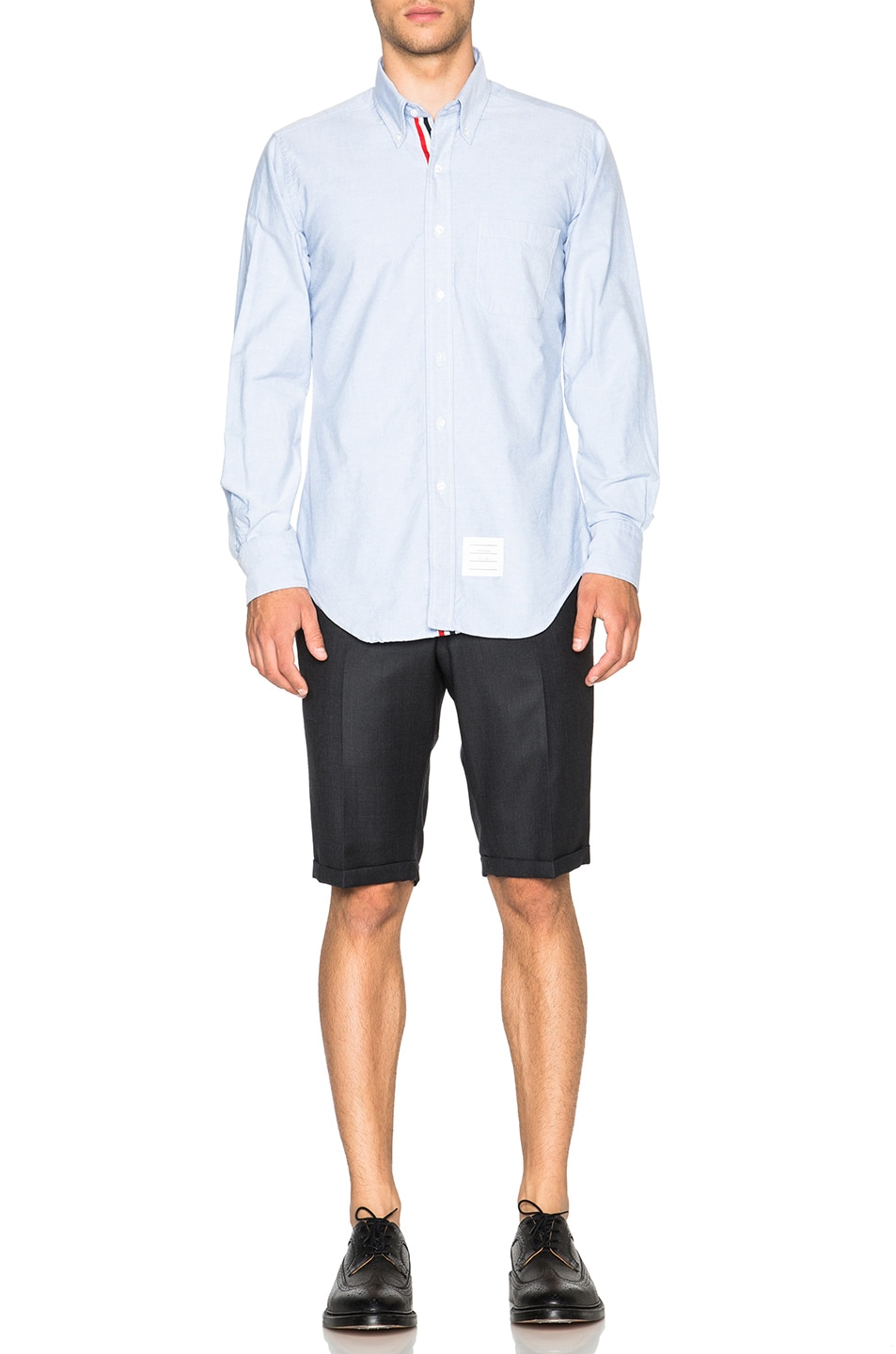 Image 5 of Thom Browne Classic Cotton Button Down with Ribbon Placket in Light Blue