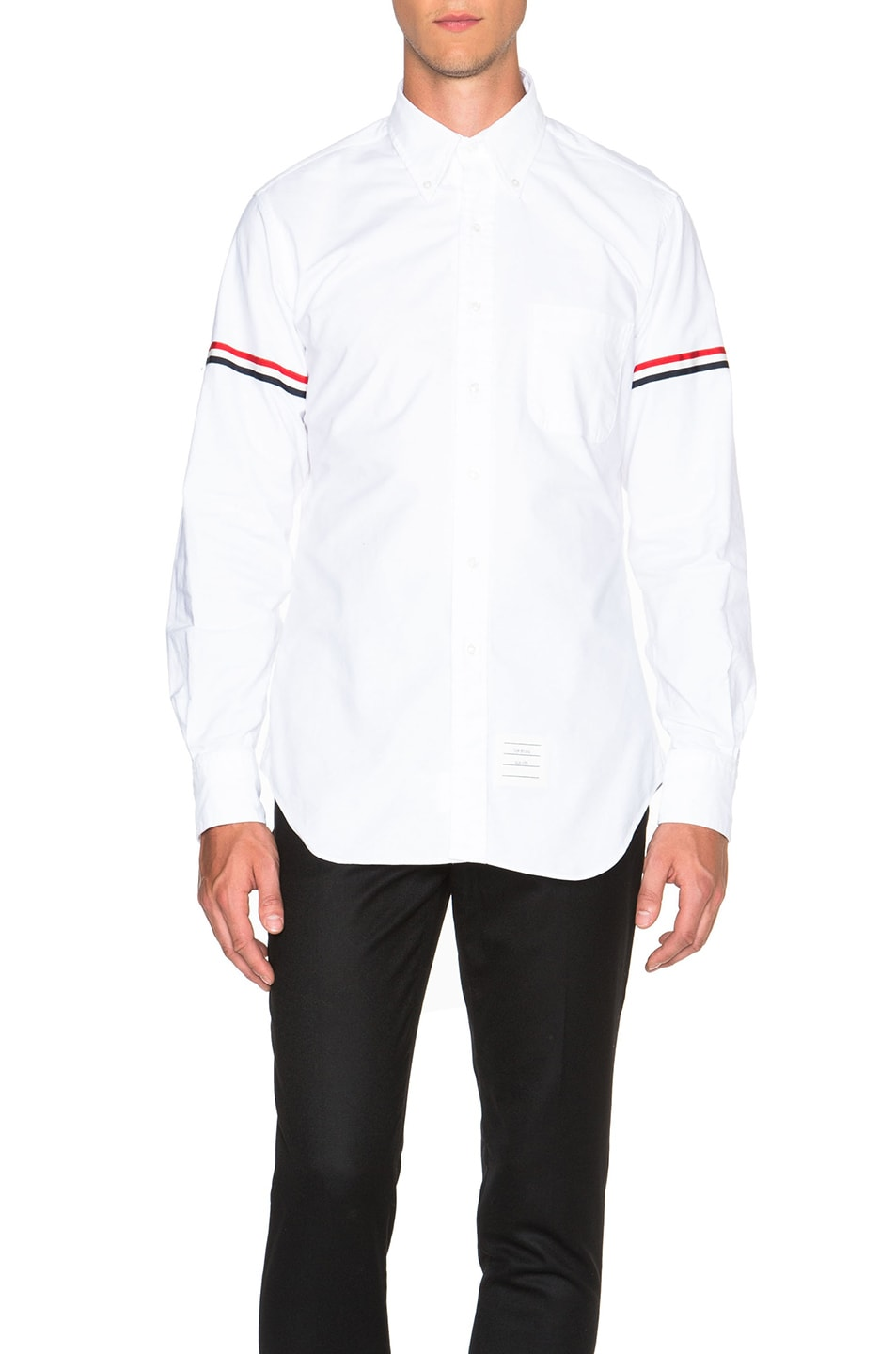 THOM BROWNE Long Sleeve Shirt With Grosgrain Armbands In White Oxford