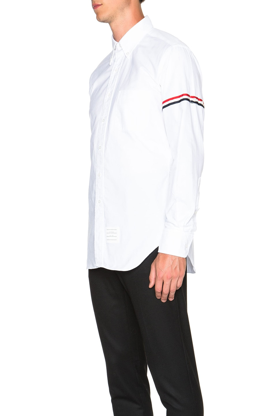 Image 2 of Thom Browne Classic Button Down with Grosgrain Armbands in White