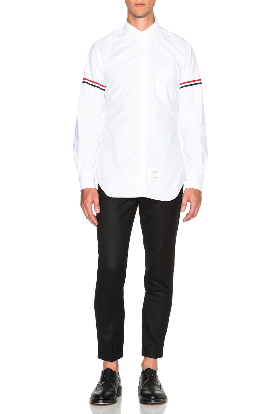 Image 5 of Thom Browne Classic Button Down with Grosgrain Armbands in White