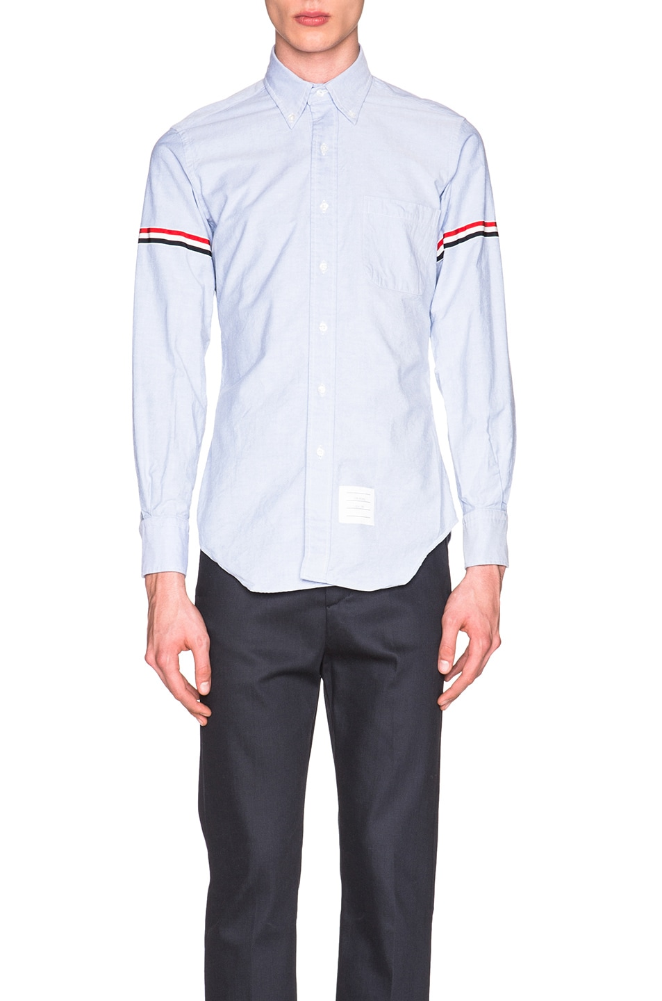Image 1 of Thom Browne Classic Button Down with Grosgrain Armbands in Blue