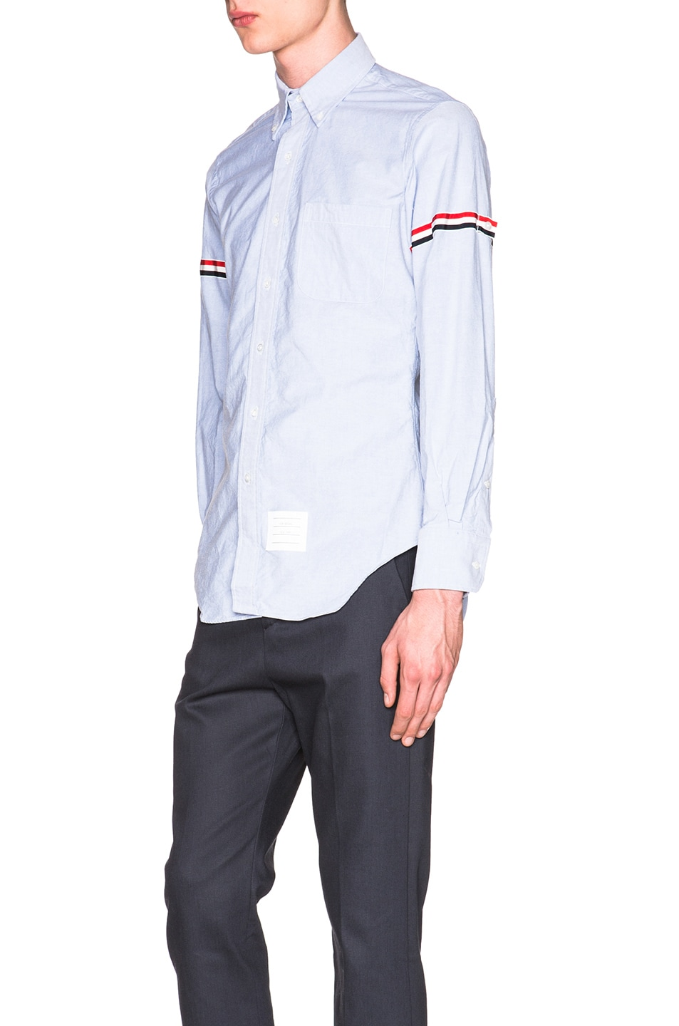 Image 2 of Thom Browne Classic Button Down with Grosgrain Armbands in Blue