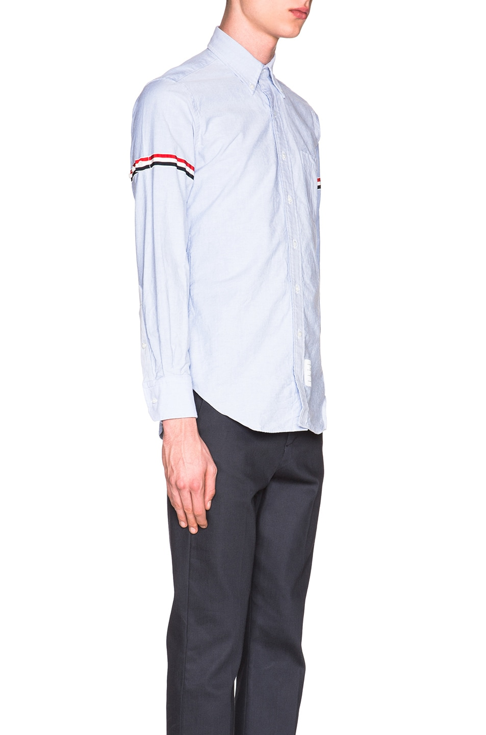 Image 3 of Thom Browne Classic Button Down with Grosgrain Armbands in Blue