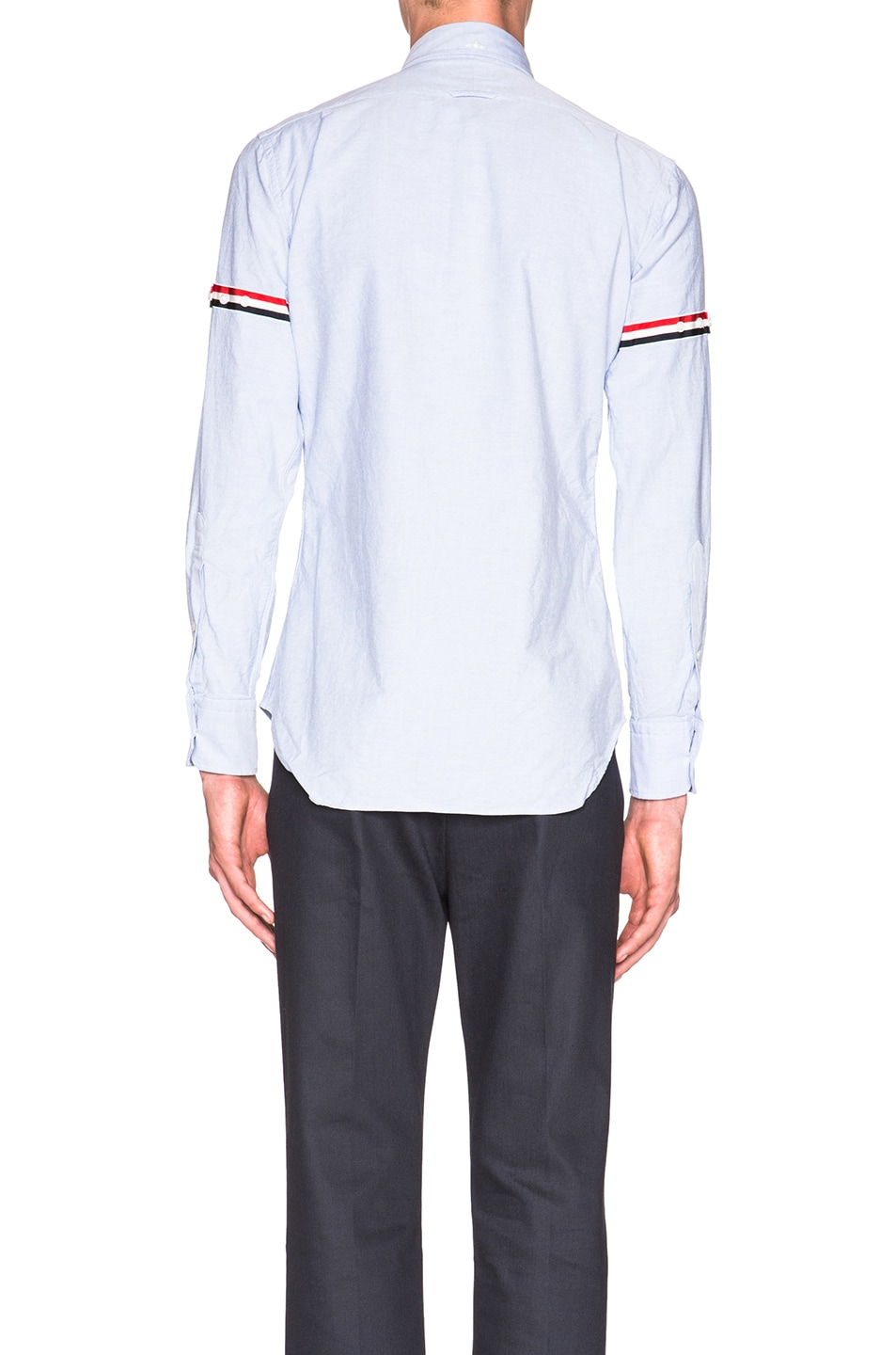Image 4 of Thom Browne Classic Button Down with Grosgrain Armbands in Blue