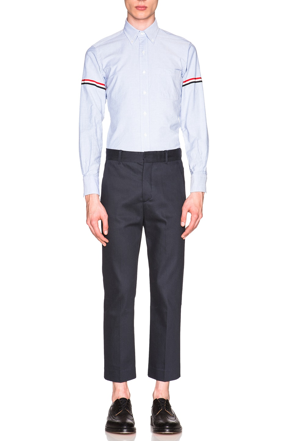 Image 5 of Thom Browne Classic Button Down with Grosgrain Armbands in Blue