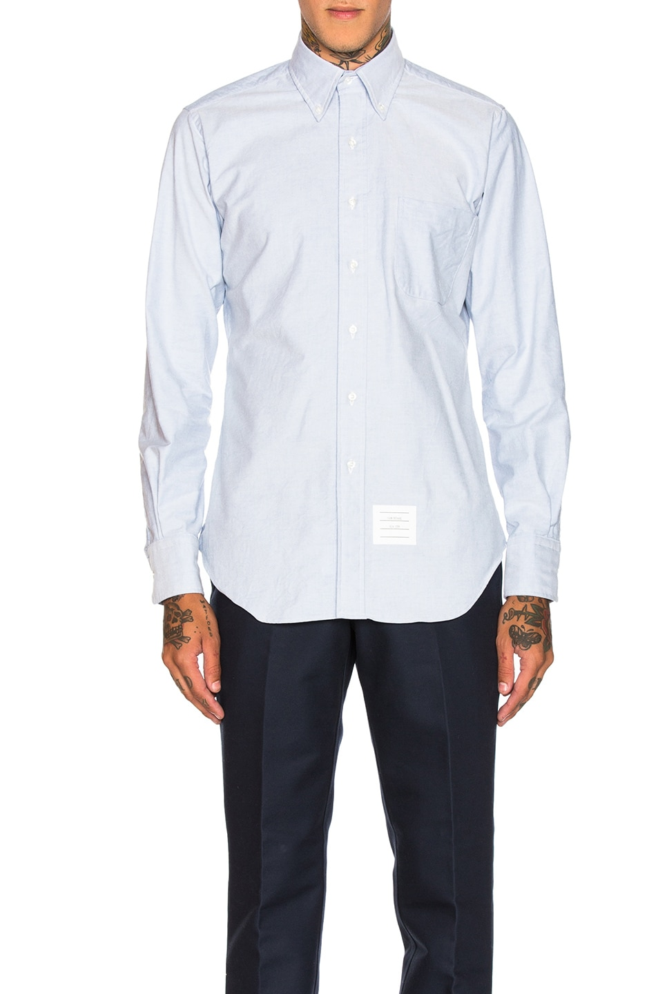 Image 1 of Thom Browne Classic Oxford Shirt in Light Blue