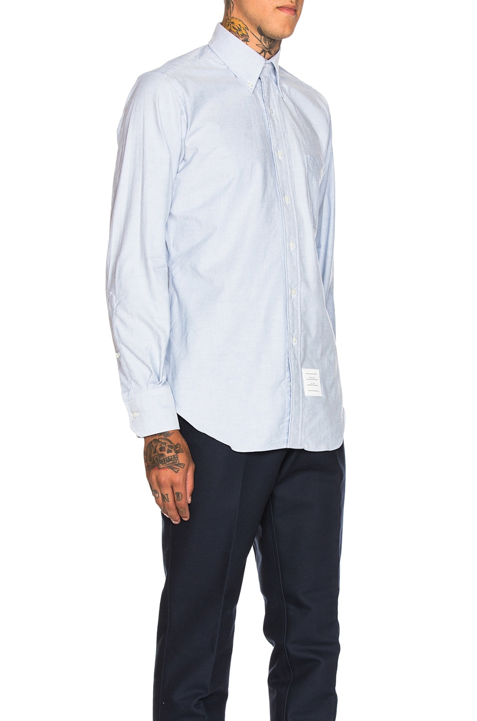 Image 3 of Thom Browne Classic Oxford Shirt in Light Blue
