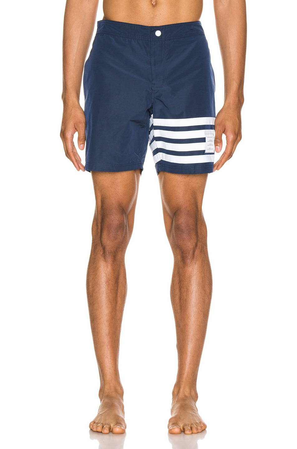Image 1 of Thom Browne Snap Front Swim Short in Navy