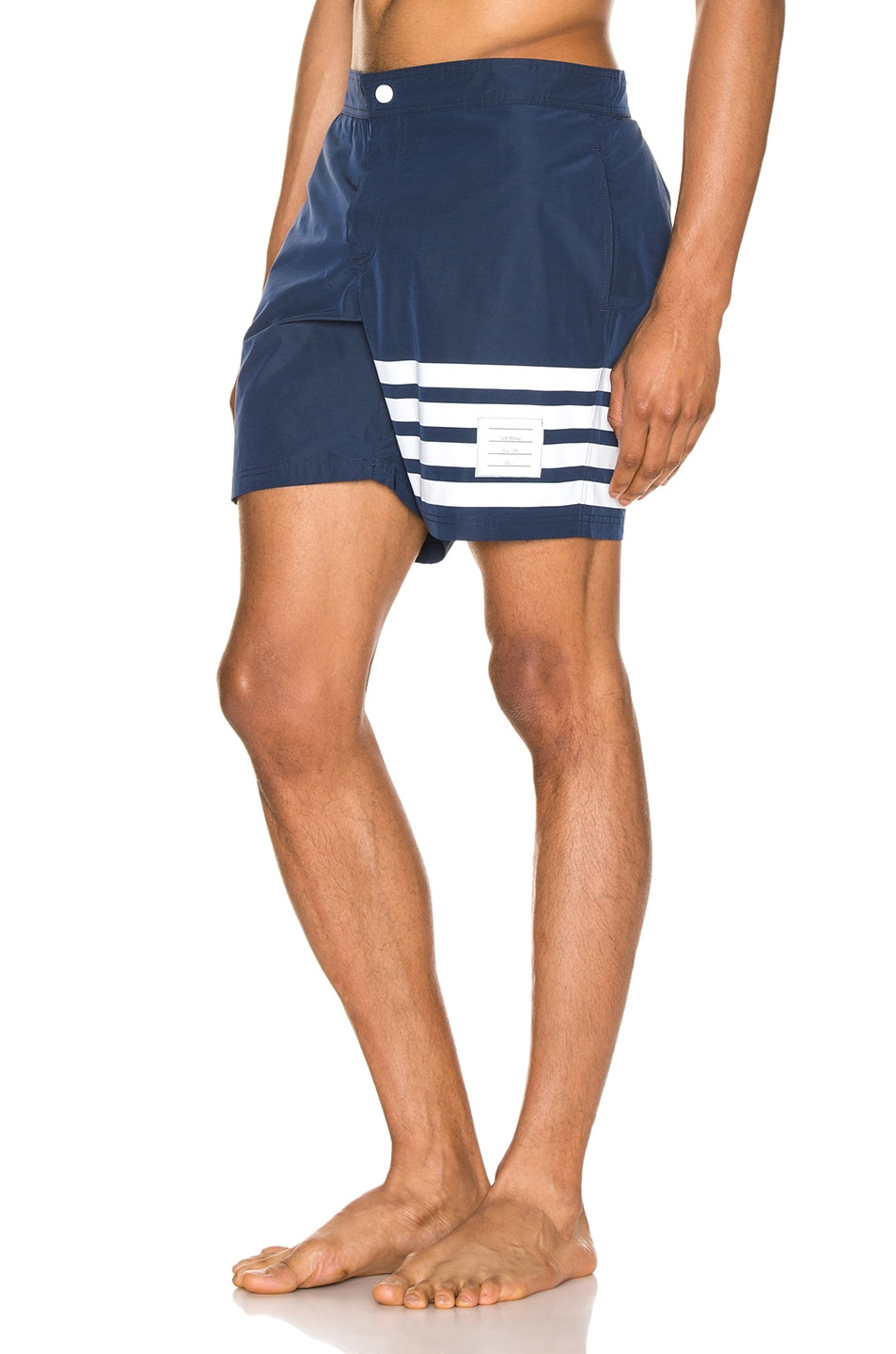 Image 3 of Thom Browne Snap Front Swim Short in Navy