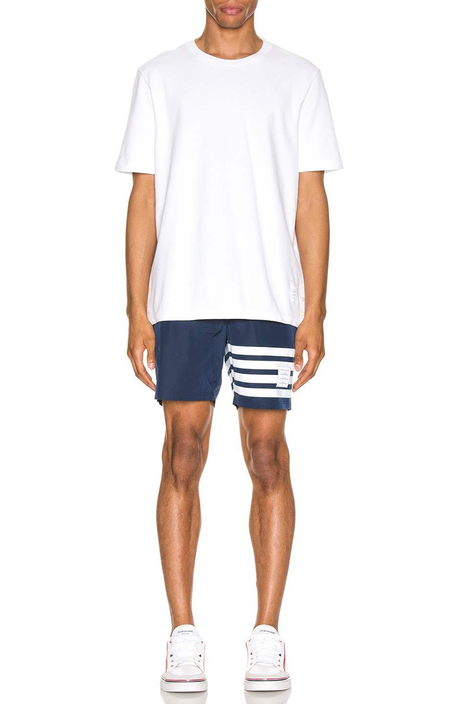 Image 5 of Thom Browne Snap Front Swim Short in Navy